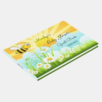 Happy bumble bee summer or spring baby shower guest book