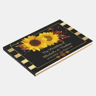 Sunflower gold striped personalized wedding guest book