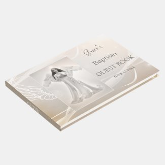 Your photo angel wings memorial or baptism guest book