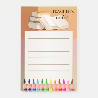 Books and pencils colorful teacher post-it notes