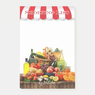 Colorful grocery shopping post-it notes