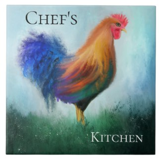 Fine art rooster painted kitchen tile