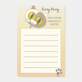 Furry purry funny cute cat post-it notes