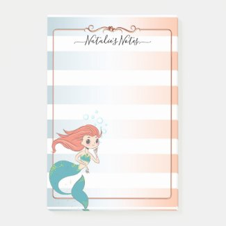 Girly mermaid striped post-it notes