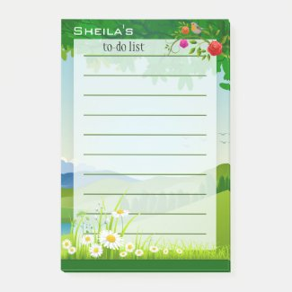 Green garden floral design to do list post-it notes