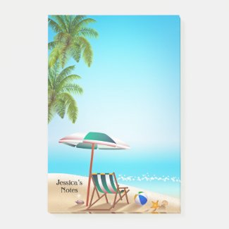 Turquoise tropical beach post-it notes