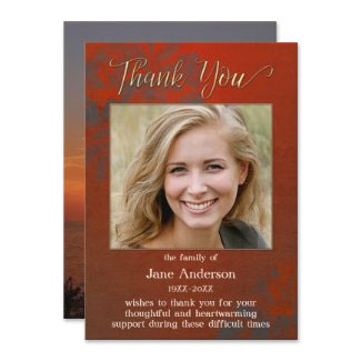 Burgundy sympathy or funeral Thank you photo card