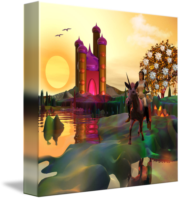 Dream journey with unicorn and fairy tale castle - fine art by Anne Vis