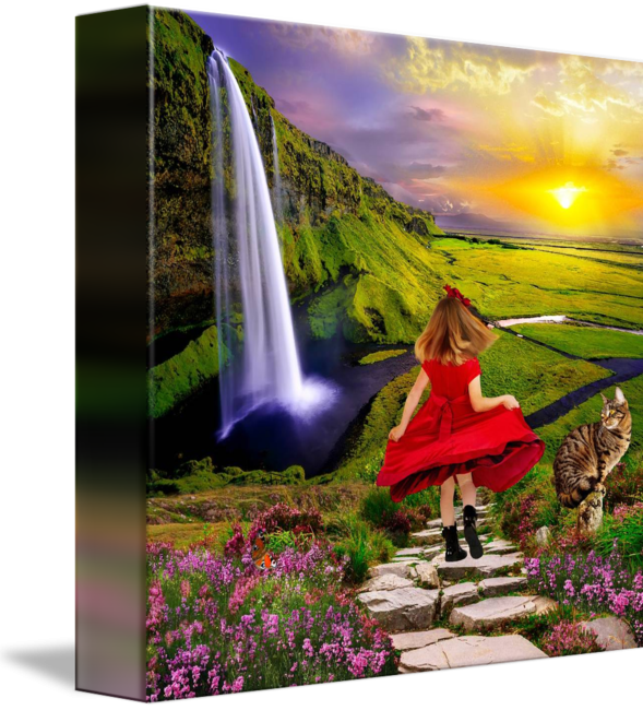 Happy girl with cat in summer landscape