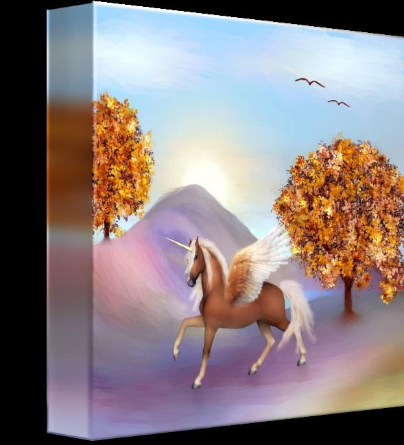 Happy unicorn in a fantasy world, child art by Anne Vis