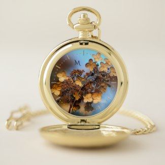 Autumn Hydrangea Monogram Pocket Watch