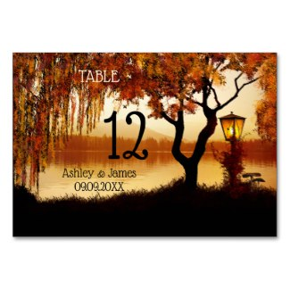 Autumn Lake View Tree Wedding Table Number Card