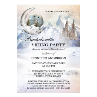Romantic Winter Wonderland Bachelorette Skiing Invitation