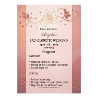 Rose Gold Floral Bachelorette Weekend Itinerary Template