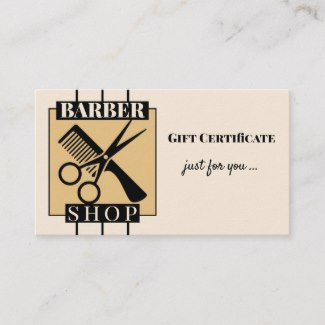 Barber Shop Gift Certificate Template