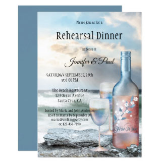 Beach and Wine Painted Rehearsal Dinner Invitation
