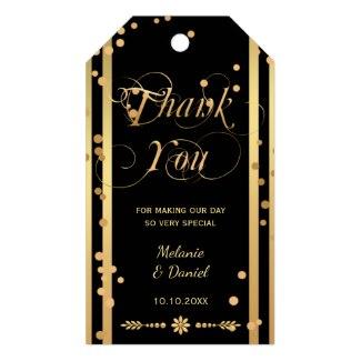 Black Gold Confetti Wedding Thank You Gift Tag