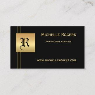 Chic Black Gold Monogram Business Card