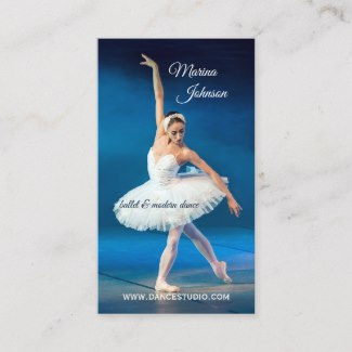Blue Ballet Modern Dance Teacher Business Card