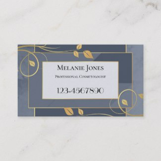 Blue Grey Golden Leaves Appointment Business Card