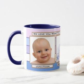 Blue Lavender Lilac Striped Custom Photo Mug