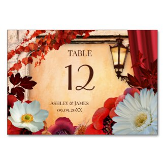 Artistic Floral Italy Inspired Autumn Table Number Card