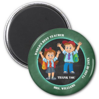 Cartoon Chalkboard Teacher Thank You Magnet - gift for teachers