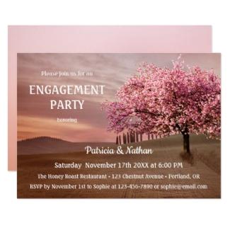Cherry Blossom Landscape Art Engagement Party Invitation