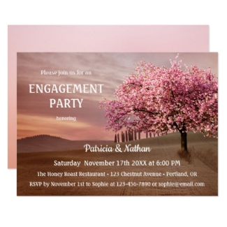 Cherry blossom orchard engagment party invitation