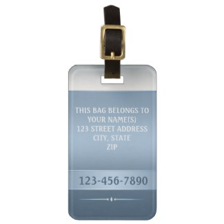 Chic Blue Silver Metallic Striped Luggage Tag