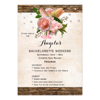 Chic Country Floral Bachelorette Weekend Program Invitation