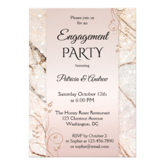 Chic Marble Rose Gold Floral Engagement Invitation