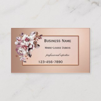 Rose gold floral appointment business card