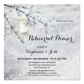 Christmas or Winter Wedding Rehearsal Dinner Invitation