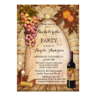Classic Winery or Vineyard Bachelorette Party Invitation