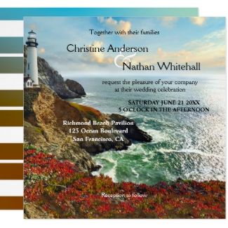 Colorful Lighthouse Destination Nautical Wedding Invitation