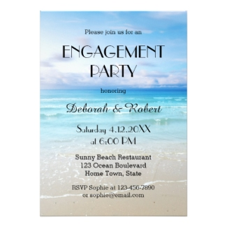 Colorful Beach Engagement Party Invitation