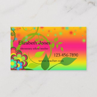 Colorful Elementary School Teacher Business Card