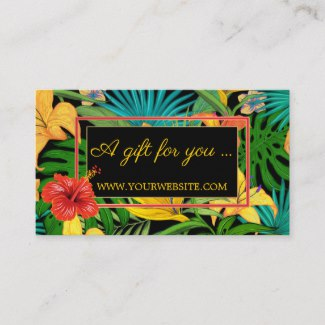 Colorful Tropical Flowers Gold Gift Certificate