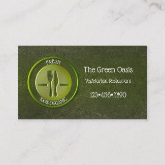 Elegant Vegetarian Restaurant Business Card