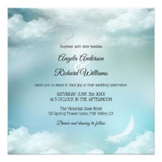 Dream Blue Silver Lining Wedding Invitation
