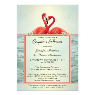 Elegant Artistic Flamingo Bridal Couple Shower Invitation