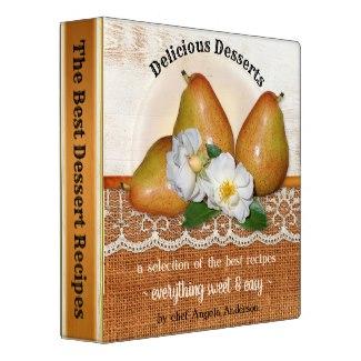 Elegant Pears Sweet Dessert Recipe Binder