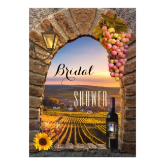 Elegant Vineyard Wine Lovers Bridal Shower Invitation