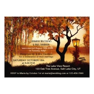 Autumn Lake Lantern Wedding Reception Invitation
