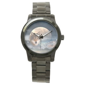 Full Moon Wolf Fantast Landscape Watch