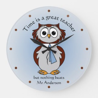 Funny Cartoon Owl Teacher Wall Clock