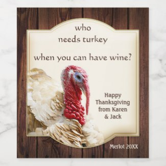 Funny Turkey Dark Wood Thanksgiving Wine Label