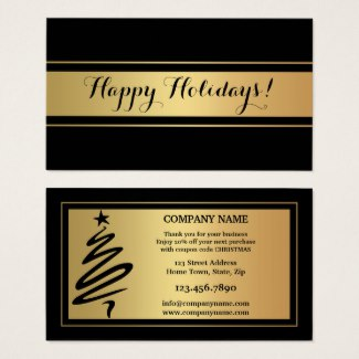 Gold Black Holidays Thank You Business Card