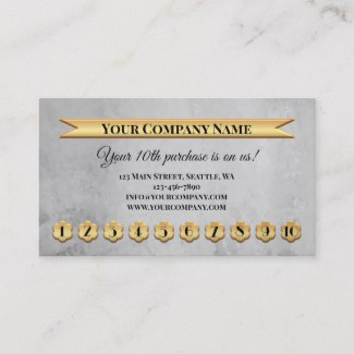 Gold Grey Loyalty Punch Card Business Card